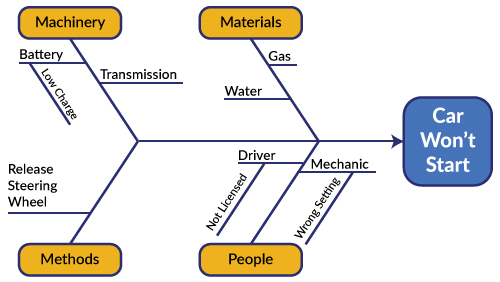 cause and effect diagram six sigma 2002 f150 ignition wiring capturing all the fish in one net diagrams lean another type of fishbone is known as systems its major bones are categories causes minor specific sub
