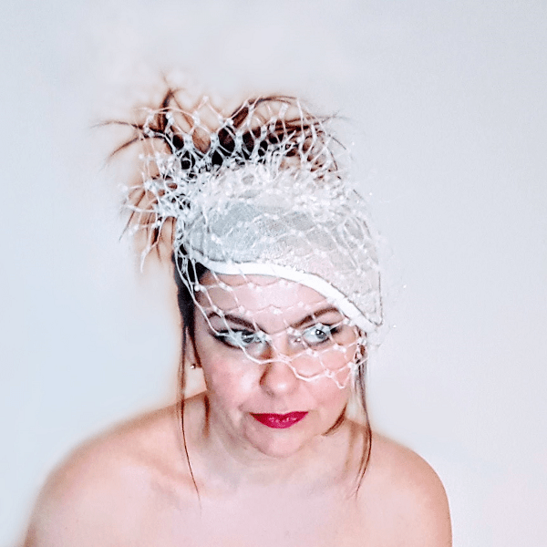 Ivory pearl veiled bridal millinery face on small