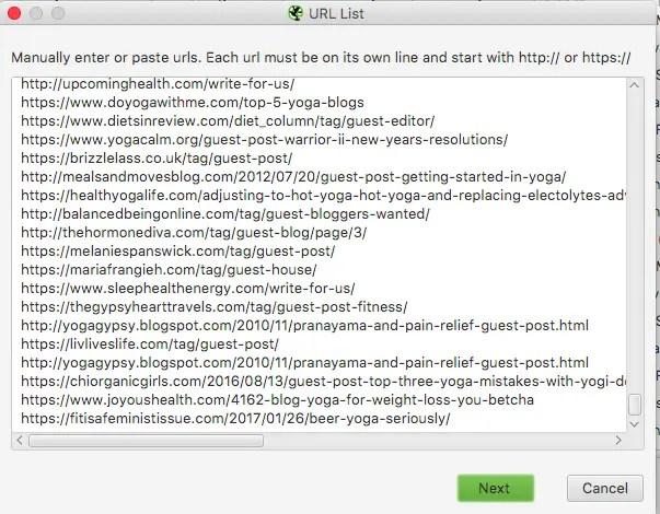 screamingfrog urls paste manually tutorial