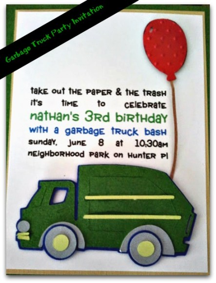 How to throw an easy garbage truck birthday party leap of faith garbage truck birthday party invitations filmwisefo Image collections