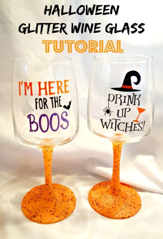 halloween diy glitter wine glass tutorial