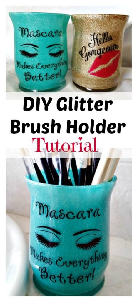 diy glitter brush holder tutorial