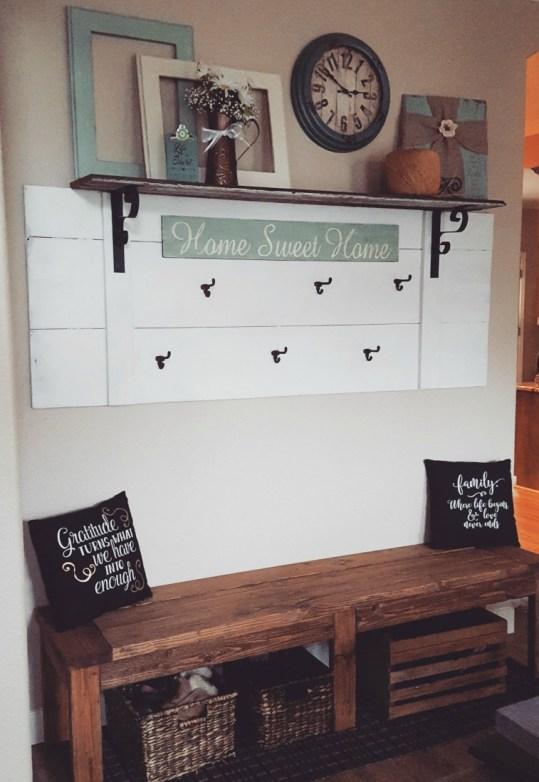 DIY mud room wall and bench