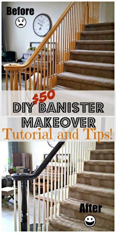 diy oak banister makeover tutorial
