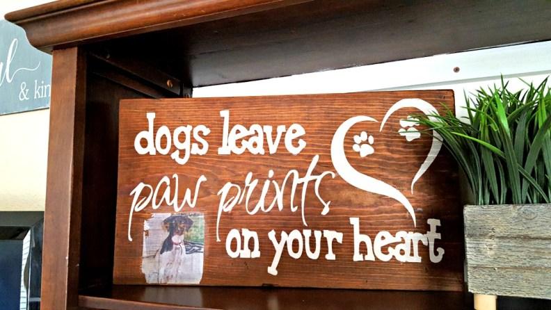 wood dog sign