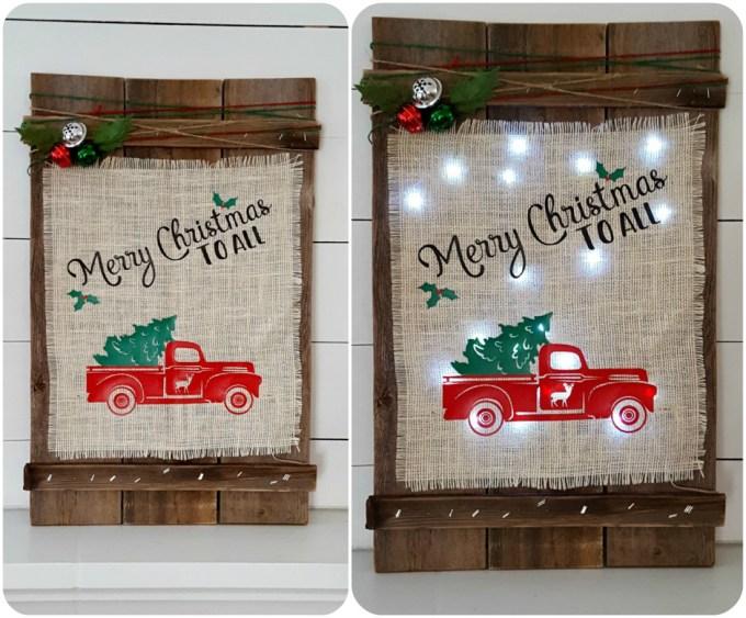 DIY Christmas wooden burlap sign