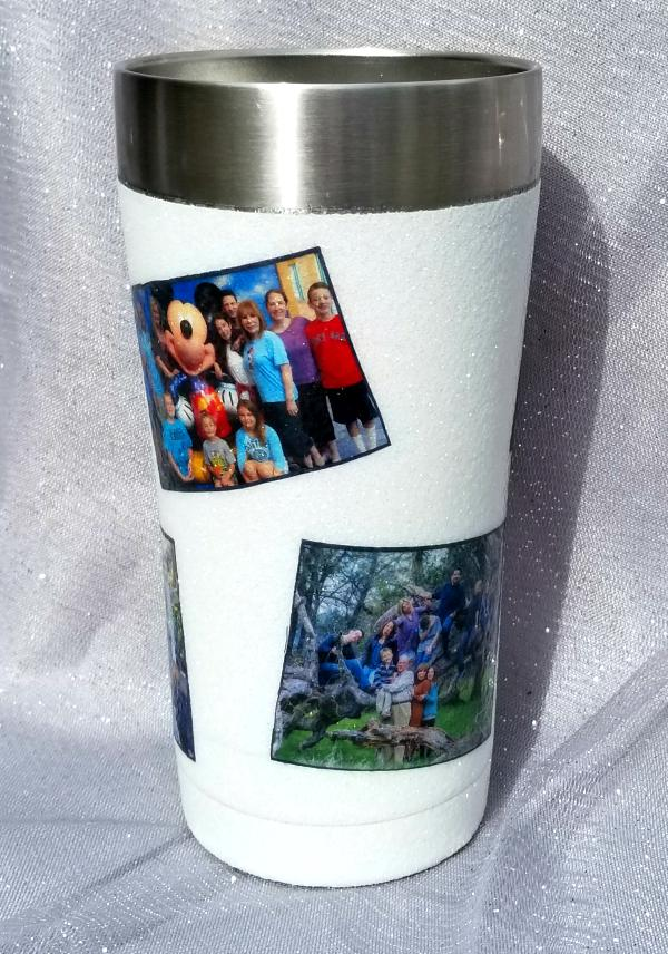 decorated yeti cup or tumblers with pictures mod podge glitter