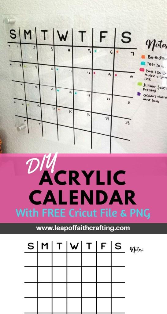 acrylic wall calendar pin