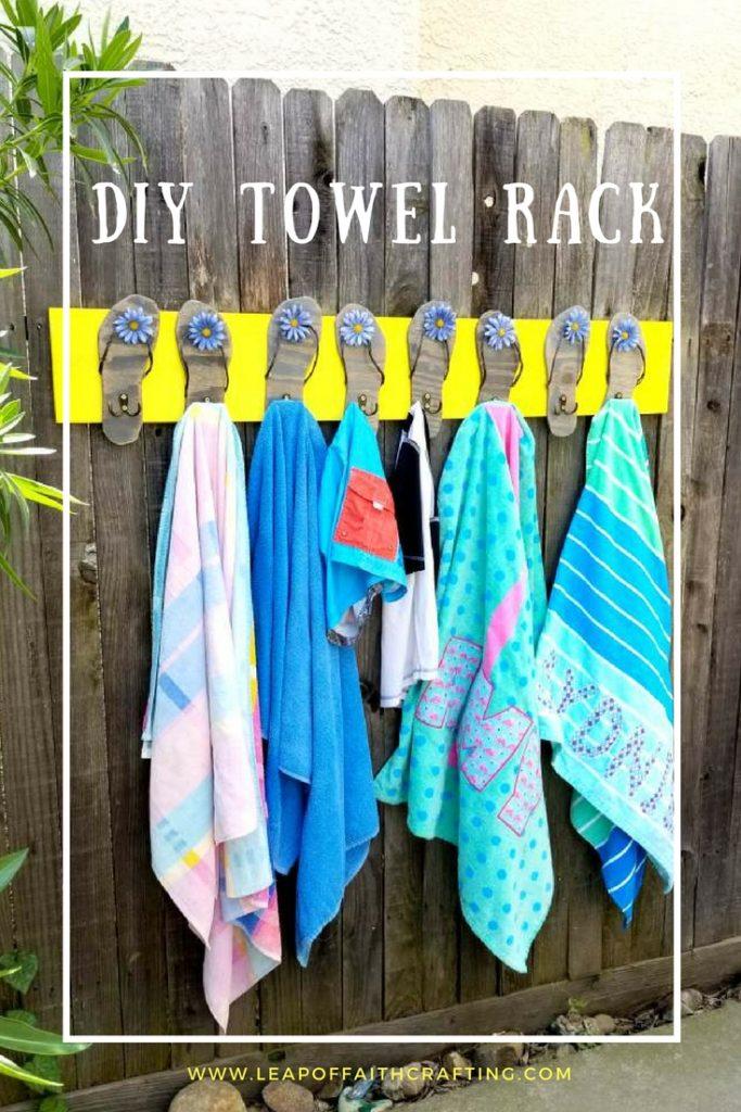 pool towel rack with flip flops diy