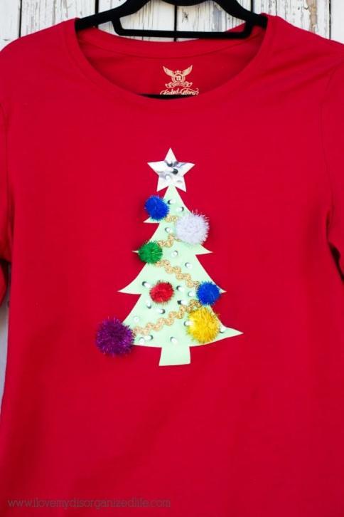 diy ugly sweater t shirt using cricut i love my disorganized life content