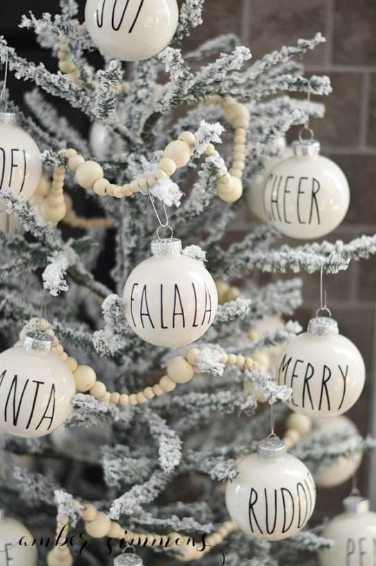 rae dunn inspired christmas ornament diy