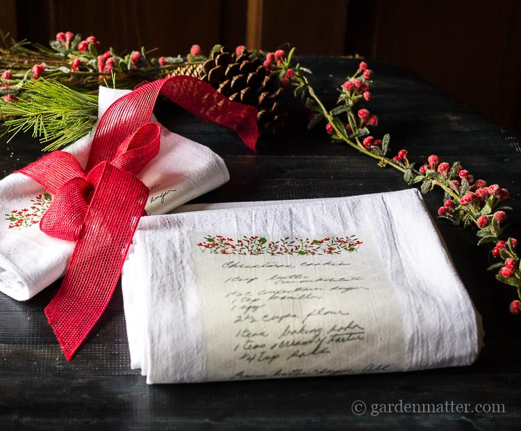 family recipe tea towel transfer gift