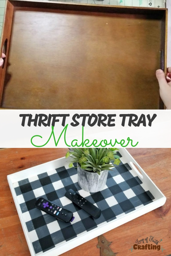 Learn how to paint buffalo plaid in this thrift store makeover. All you need is some paint and painter's tape to create DIY decor! #buffaloplaid #plaid #diydecor