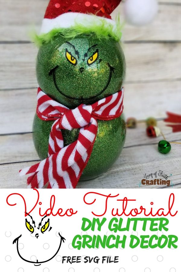 DIY Easy Grinch Decorations from Dollar Tree supplies. Make your own glitter Grinch decor with a FREE Grinch face SVG file and a video tutorial. #grinch #diy #glitter #diychristmas #tutorial #svg