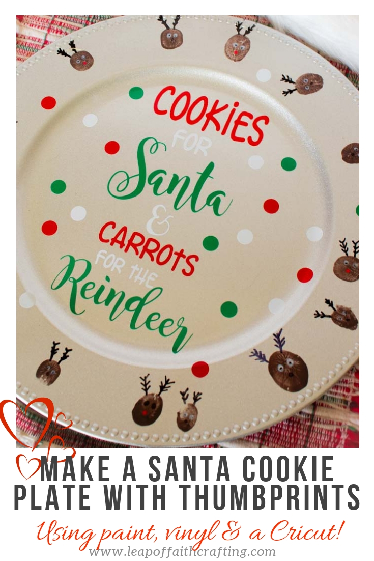 Make a fun DIY personalized cookies for Santa plate with a Cricut, vinyl and your kids' thumbprints.  A treasured Christmas craft to keep year after year! #cricut #cricutmade #diychristmas #santa #dollartree