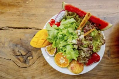 Eat salad and fruits