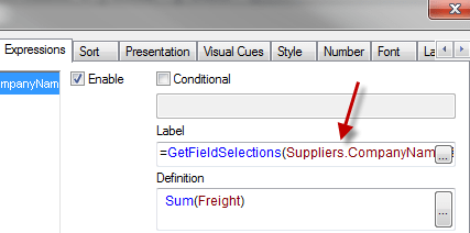 Dynamic title in Charts and Expressions – GetFieldSelections