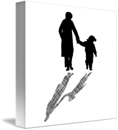 woman-and-child-silhouettes-with-striped-shadow_art