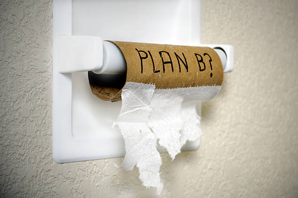 """A finished roll of toilet paper with the phrase """"Plan B?"""" framed with vignette"""
