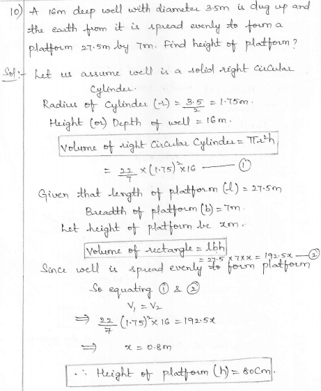 RD Sharma Class 10 Solutions Surface areas and Volumes Ex 16.1 Q10