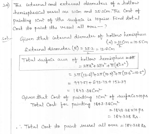RD Sharma Class 10 Solutions Surface areas and Volumes Ex 16.1 Q24