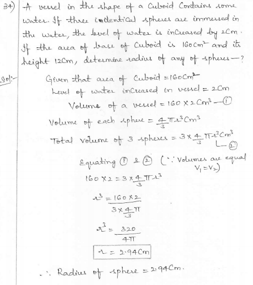 RD Sharma Class 10 Solutions Surface areas and Volumes Ex 16.1 Q34