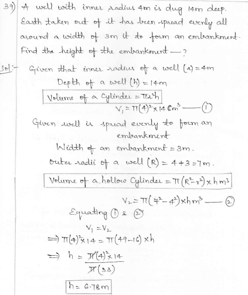 RD Sharma Class 10 Solutions Surface areas and Volumes Ex 16.1 Q39