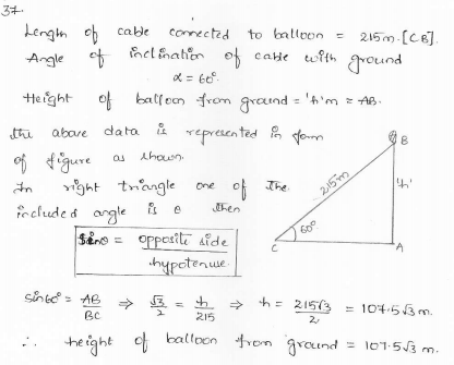RD-Sharma-class 10-maths-Solutions-chapter 12 - Applications of Trigonometry -Exercise 12.1 -Question-37
