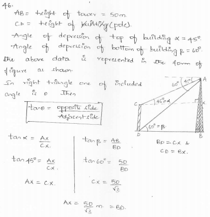 RD-Sharma-class 10-maths-Solutions-chapter 12 - Applications of Trigonometry -Exercise 12.1 -Question-46