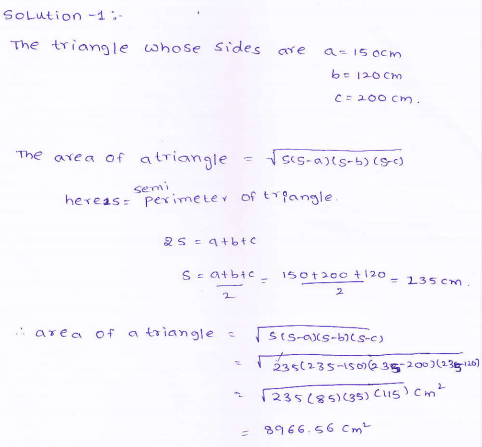 RD-Sharma-class 9-maths-Solutions-chapter 12 - Herons Formulae -Exercise 12.1 -Question-1
