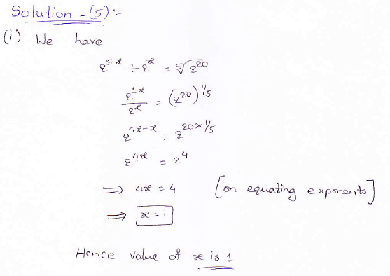 RD Sharma class 9 maths Solutions chapter 2 Exponents of Real Numbers Question 5 (i)