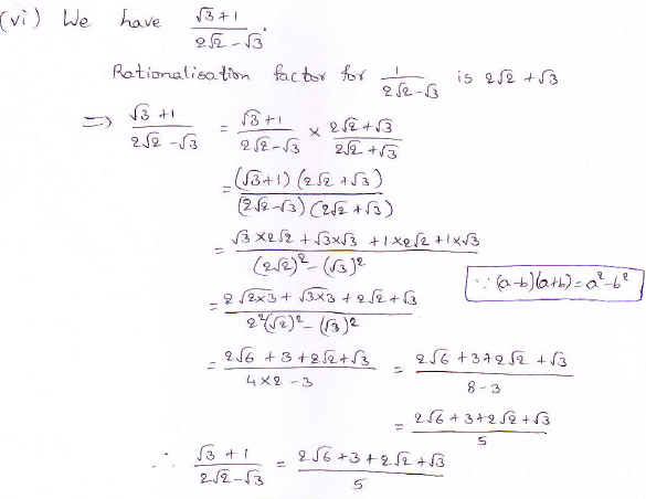 RD Sharma class 9 maths Solutions chapter 3 Rationalisation Exercise 3.2 Question 3 (vi)