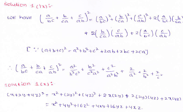 RD Sharma class 9 maths Solutions chapter 4 Algebraic Identities Exercise 4.2 Question 1 (ix) (x)