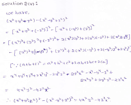 RD Sharma class 9 maths Solutions chapter 4 Algebraic Identities Exercise 4.2 Question 2 (v)