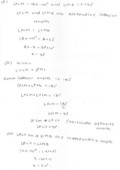 RD Sharma Class 7 Solutions 14.Lines and angles Ex-14.2 Q 21 ii