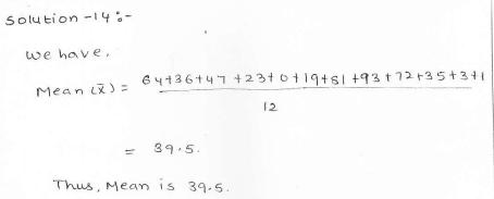RD Sharma class 7 solutions 23.Data Handling-II (central values) Ex-23.1 Q 14