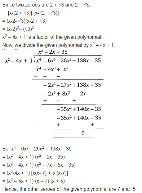 Polynomials Exercise 2.4 Class 10 Maths NCERT Solutions Q4