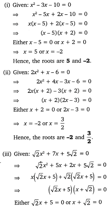 NCERT Solutions for Class 10 Maths Chapter 4 Quadratic Equations Exercise 4.2 Q1