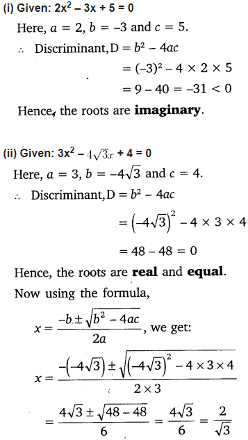 NCERT Solutions for Class 10 Maths Chapter 4 Quadratic Equations Exercise 4.4 Free PDF Download Q1
