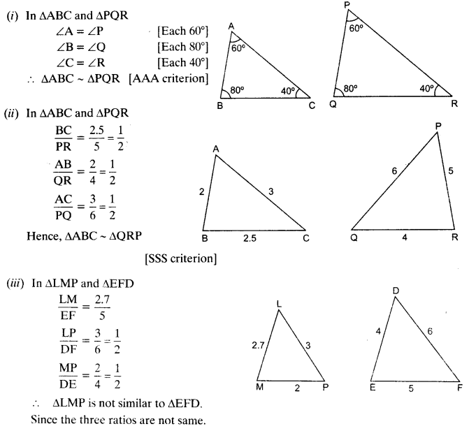 NCERT Solutions for Class 10 Maths Chapter 6 pdf Triangles Ex 6.3 Q1
