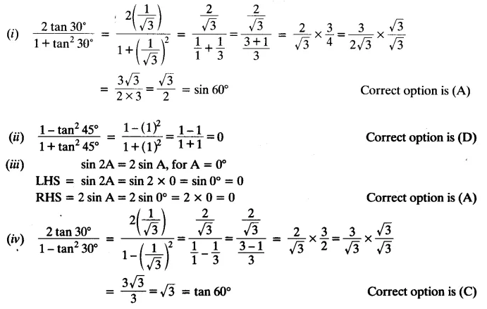 NCERT Solutions for Class 10 Maths Chapter 8 Trigonometry Exercise 8.2 Q2