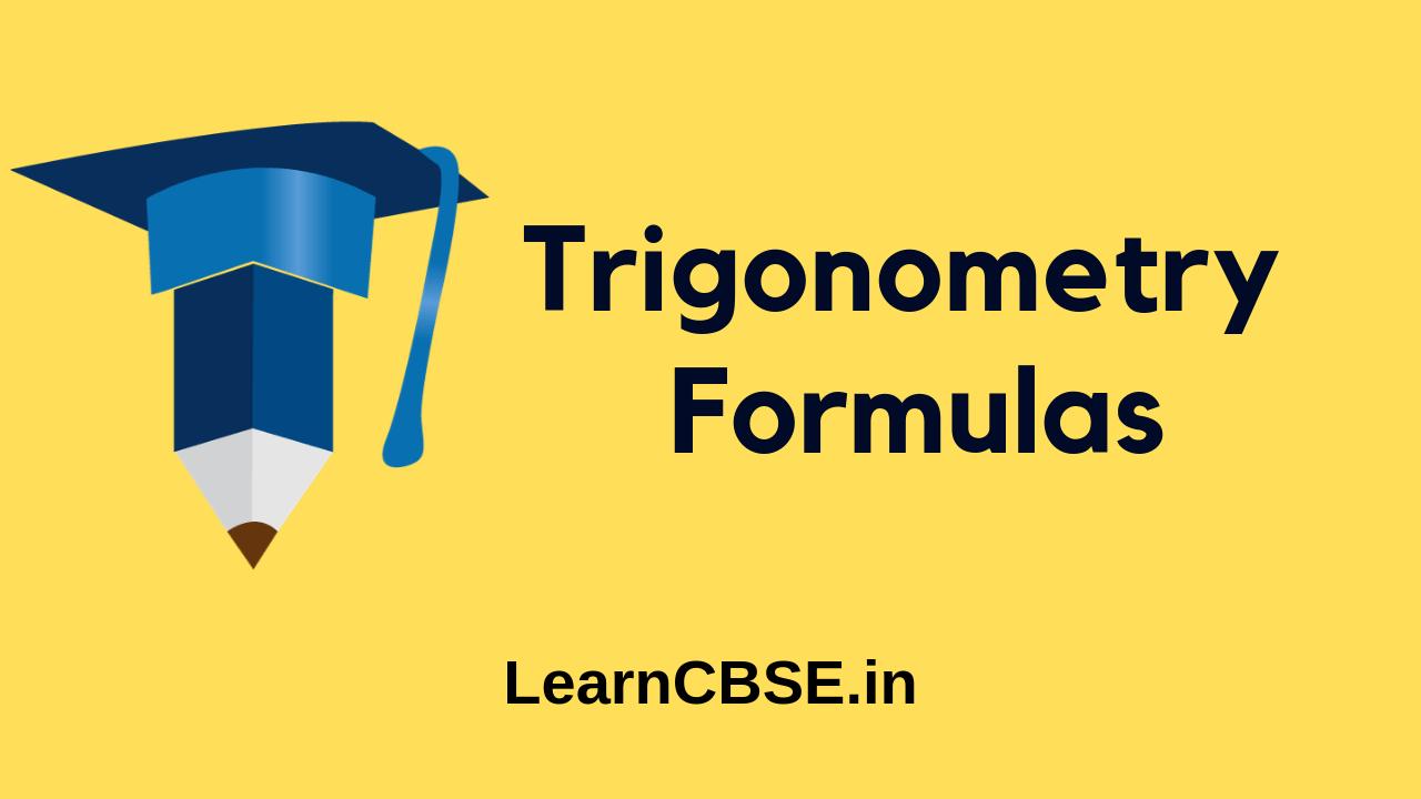 Trigonometry Formulas for Functions, Ratios and Identities PDF