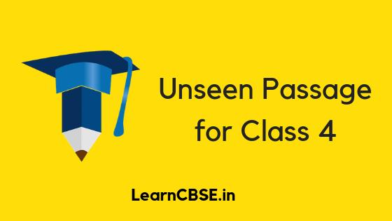 Unseen Passage for Class 4