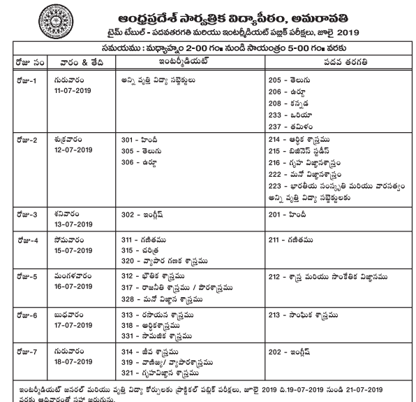 AP Open SSC Supplementary Exam Time Table 2019