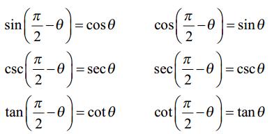 Cofunction Trigonometry Formulas