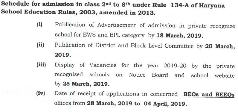 RTE Admission Haryana Class 2 to Class 8 Schedule
