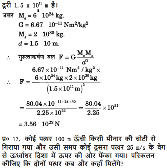 NCERT Solutions for Class 9 Science Chapter 10 Gravitation and Floatation Hindi Medium 18