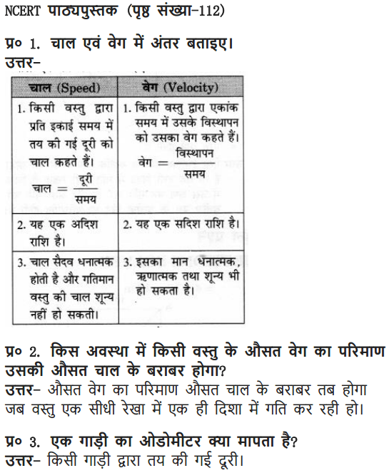 NCERT Solutions for Class 9 Science Chapter 8 Motion Hindi Medium 3