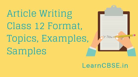 article writing format cbse class 12