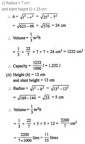 ML Aggarwal Class 10 Solutions for ICSE Maths Chapter 17 Mensuration Ex 17.2